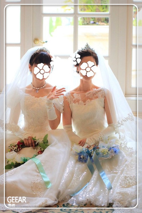 女同志恋人自制梦幻迪士尼婚纱,有如童话故事的婚礼!