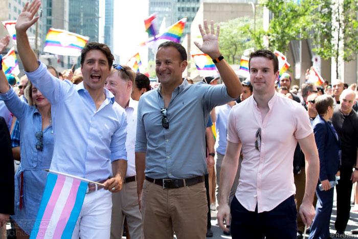 加拿大总理和爱尔兰总理一起参加同志巡游