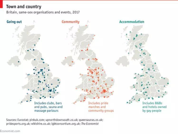 推测英国的同性恋者如何分布,《经济学人》用了两个办法