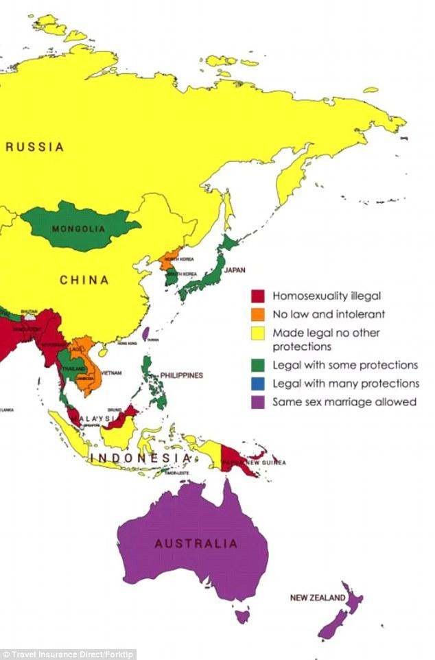 全球同性恋旅行安全指数地图,去这些地方可能被判死刑